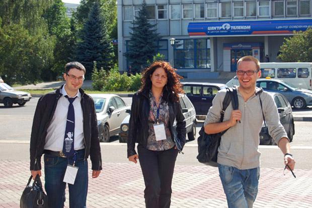 Участники конференции «РИФ-Обнинск»: Андрей Яблонских (РБК Софт), Инесса Громова (РАЭК), Дмитрий Чистов (РАЭК)